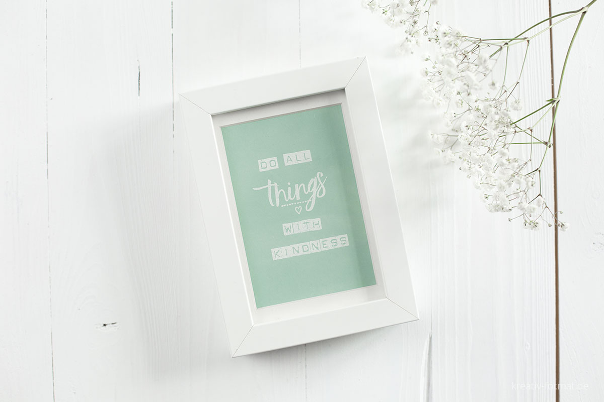 Rahmen mit Spruch Do all things with kindness in Minzmakrone mit Stampin' Up!