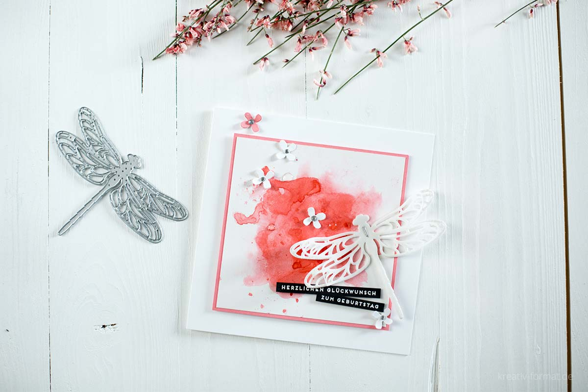 Karte mit Watercolor und den Thinlits Libellen von Stampin' Up!
